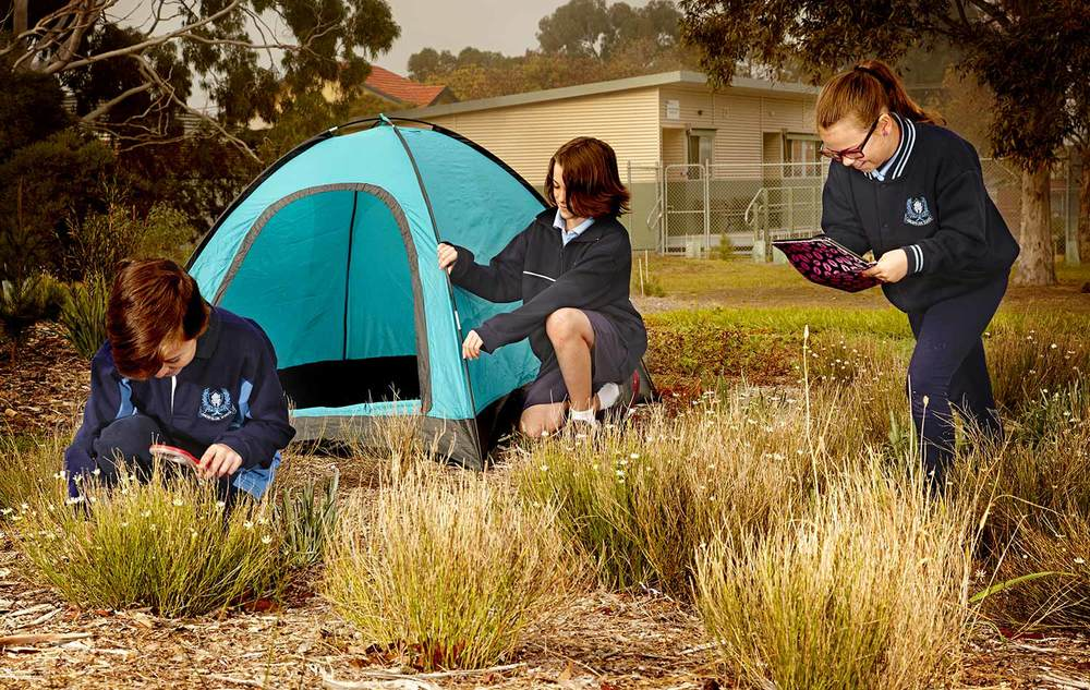 Students at the Aberfeldie Primary School regularly learn how to develop outdoor survival skills including camping and examining flora and fauna as part of their outdoor learning program.