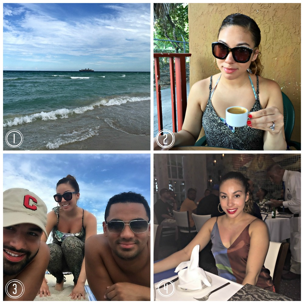 1.  South Beach, Miami:  The beach is one of my favorite places in the world.  I feel most like myself when I'm by the ocean.  2.  Drinking my morning Cafe Cubano at Sabor Latino  3.  South Beach with Anthony and Juan  4.  Dinner at Gloria Estefan's restaurant Larios - the Ropa Vieja is to die for!
