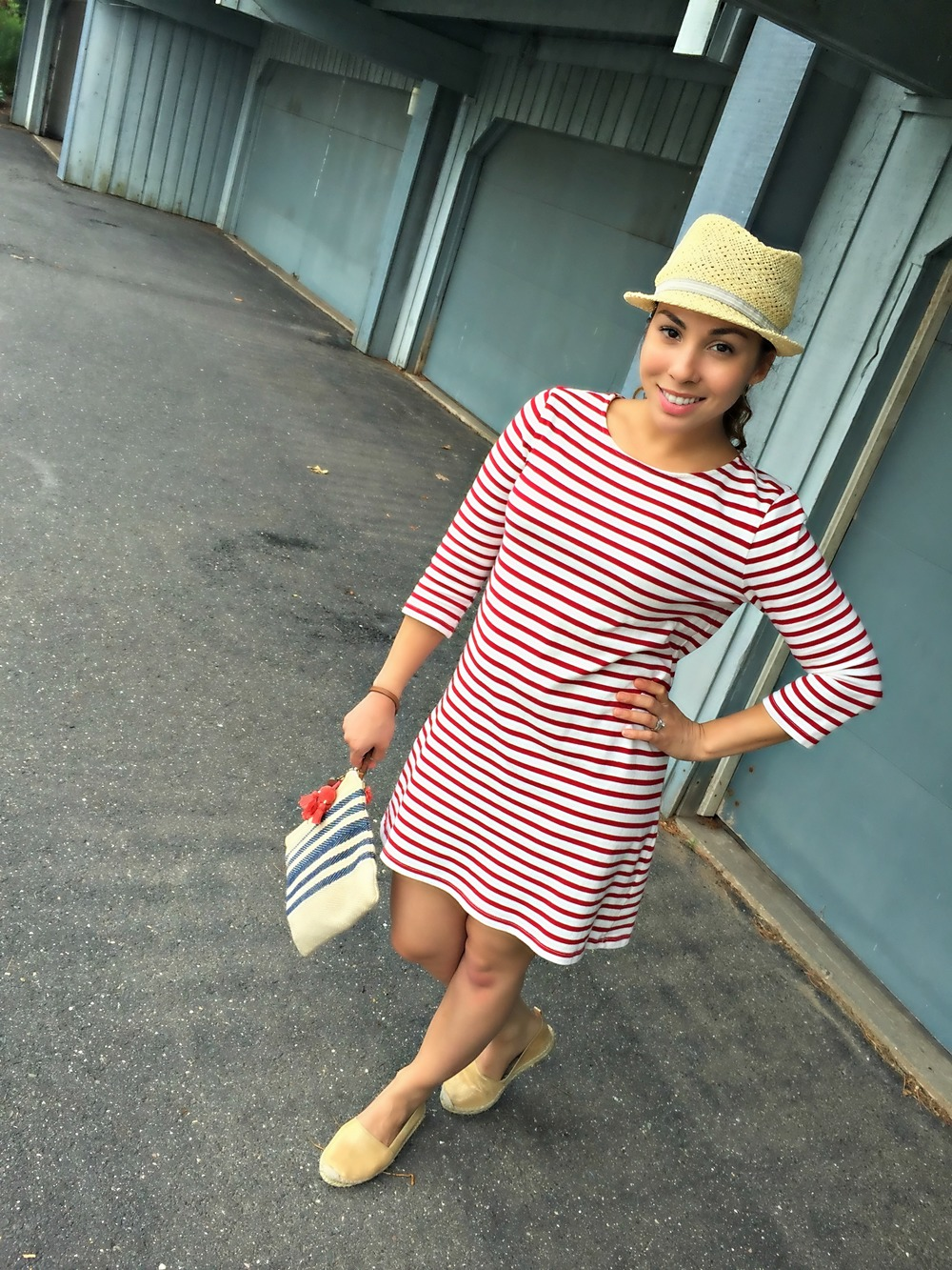 Straw Hat (Marshalls; similar here and here) |  Dress | Espadrilles (Zara; similar ) | Loft Clutch