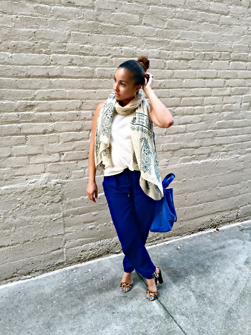 H&M Tank Top (last seen  here ) |  Zara Trousers  (identical  more colors)  |   Shoemint Heels  (last worn  here )  |  Shoedazzle Purse ( similar )  |  Scarf (gifted)