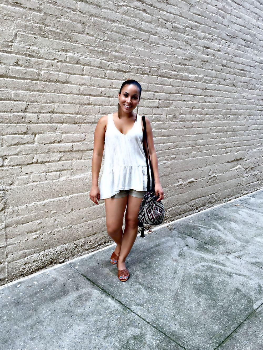 H&M Shirt | H&M Shorts | Lulus Peep Toe Flats | Forever 21 Tribal Print Bucket Bag (similar) | Forever 21 Fringe Earrings (different options)