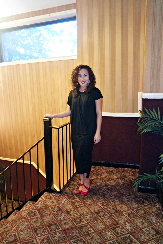Lulus Dress  | Shoemint Heels | Asos Earrings  similar  | Urban Decay Matte Lipstick in Bad Blood