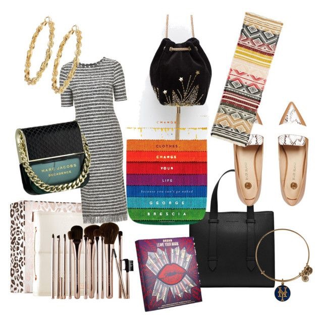 Golden Rope Hoop Earrings | Velvet Evening Bucket Bag | Geo-Tribal Blanket Scarf | Marc Jacobs Decadence | Fringe Hemmed Midi Dress | Change Your Clothes, Change Your Life Hardcover | Snake Print Shoes | Sephora Brush Set | Buxom Leave Your Mark Set | Skye Tote Bag | Alex and Ani NY Mets Charm Bangle