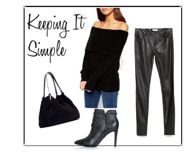 Off-The-Shoulder Sweater | Faux Leather Skinny Jeans | Studded Booties | Suede Handbag