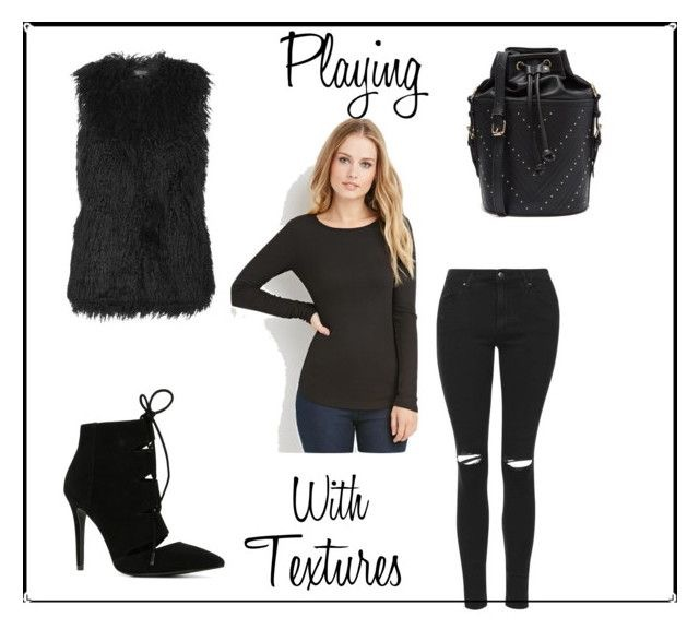 Ribbed Knit Tee | Black Ripped Jeans | Shaggy Faux Fur | Studded Duffle Bag | Suede Booties