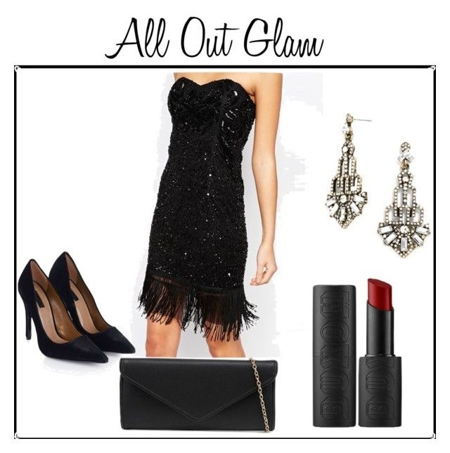 Strapless Black Dress | Velvet Heels | Envelope Clutch | Garbo Drops Earrings | Buxom Bold Gel Lipstick in Classified Crimsom