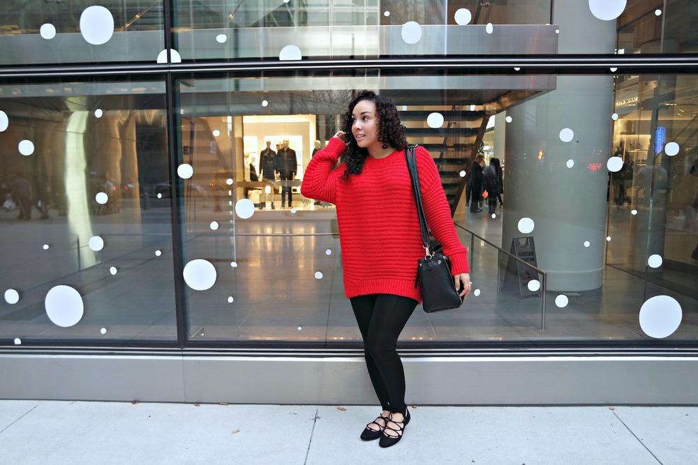 Red Sweater + Stirrup Leggings