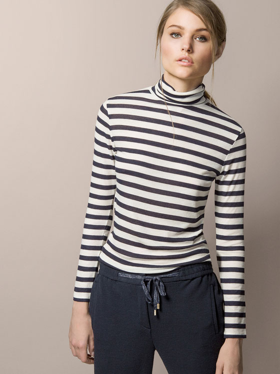 Polo Neck Striped T-shirt