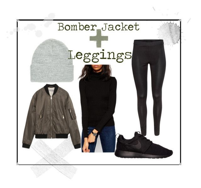 Asos Beanie  |  Quilted Bomber Jacket  |  Asos Ribbed Sweater  |  Basic Leggings  |  Nike Roshe One