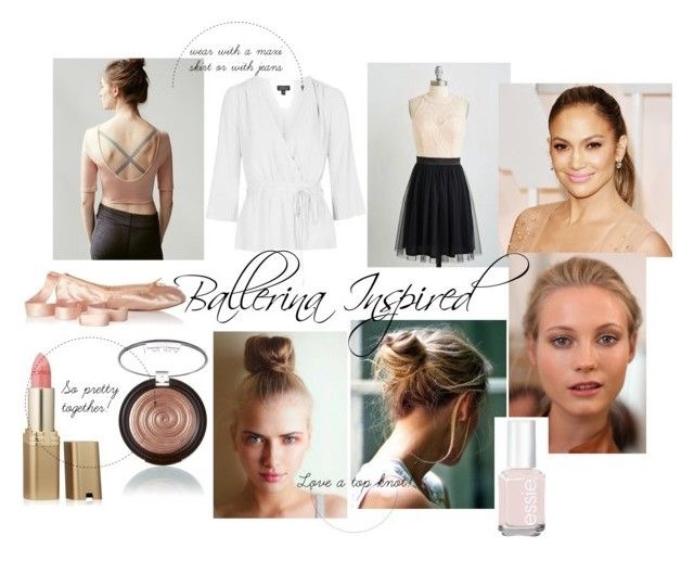 Ballerina Crop Top  |  Ballet Wrap Top  |  Ivory and Black Tulle Dress  |  Jennifer Lopez photo via  |  Ballet Slips  |  Loreal Paris Lipstick in Ballerina |  Baked Gelato Swirl Highlighter  |  Top Knot photos via  |  Essie in Ballet Slippers  |  Photo of model via