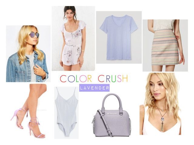 Ray-Ban Mirror Round Sunglasses | Out From Under Clementine Ruffle Romper | Refined V-Neck Tee | Awe I Want Taro Lavender Suede Lace-Up Heels | Yoga Bodysuit | Michael Kors Cindy Mini Crossbody | Gem-tle Giant Gold and Purple Rhinestone Necklace
