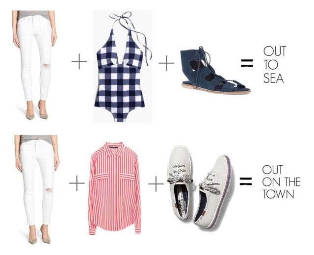 Top Row:  DL1961'Margaux' Instasculpt Ankle Skinny Jeans | Madewell Gingham One-Piece Swimsuit | Sole Society Suede Sandals Bottom Row: DL1961 'Margaux' Instasculpt Ankle Skinny Jeans | Zara Striped Blouse | Keds Champion Americana Sneakers