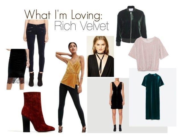 Boohoo Velvet Skirt With Lace Overlay  |  Rag & Bone Velvet Moto Pants  |  Zara Velvet High Heel Ankle Boots  |  Asos Wrap Cami Top in Velvet  |  Forever21 Self-Tie Velvet Choker  |  Frame Velvet Dress  |  Frame Velvet Bomber  |