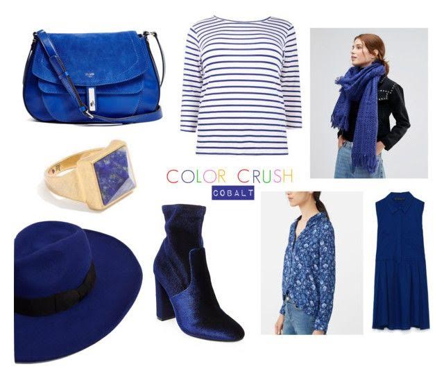 GUESS? Kingsley Cobalt Saddle Bag (on sale for an unlimited amount of time!) | Boohoo Striped Tee | Lavand Knitted Scarf (on sale!) | Madewell Sky stone Triangle Ring | Mango Wool Fedora Hat | Steve Madden Edit Ankle Booties | Mango Floral Print Shirt | Zara Shirt Dress