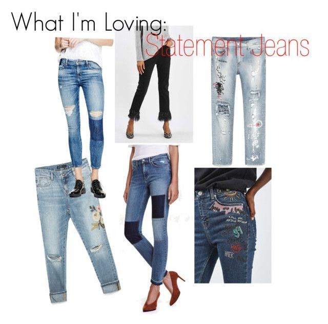 Guess? Mid-rise Ankle Skinny Jeans  |  Topshop Moto Fringe Hem Straight Jeans  |  Zara Printed Cigarette Jeans  |  Zara Relaxed Fit Embroidered Jeans  |  H&M Slim Patchwork Jeans |  Topshop Moto Scribble Embroidered Jamie Jeans