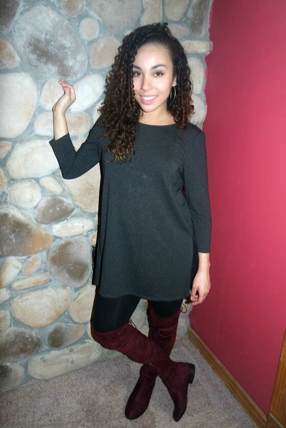 Grey tunic (via Marshalls) | H&M Leggings | Oxblood OTK Boots (via TjMaxx)