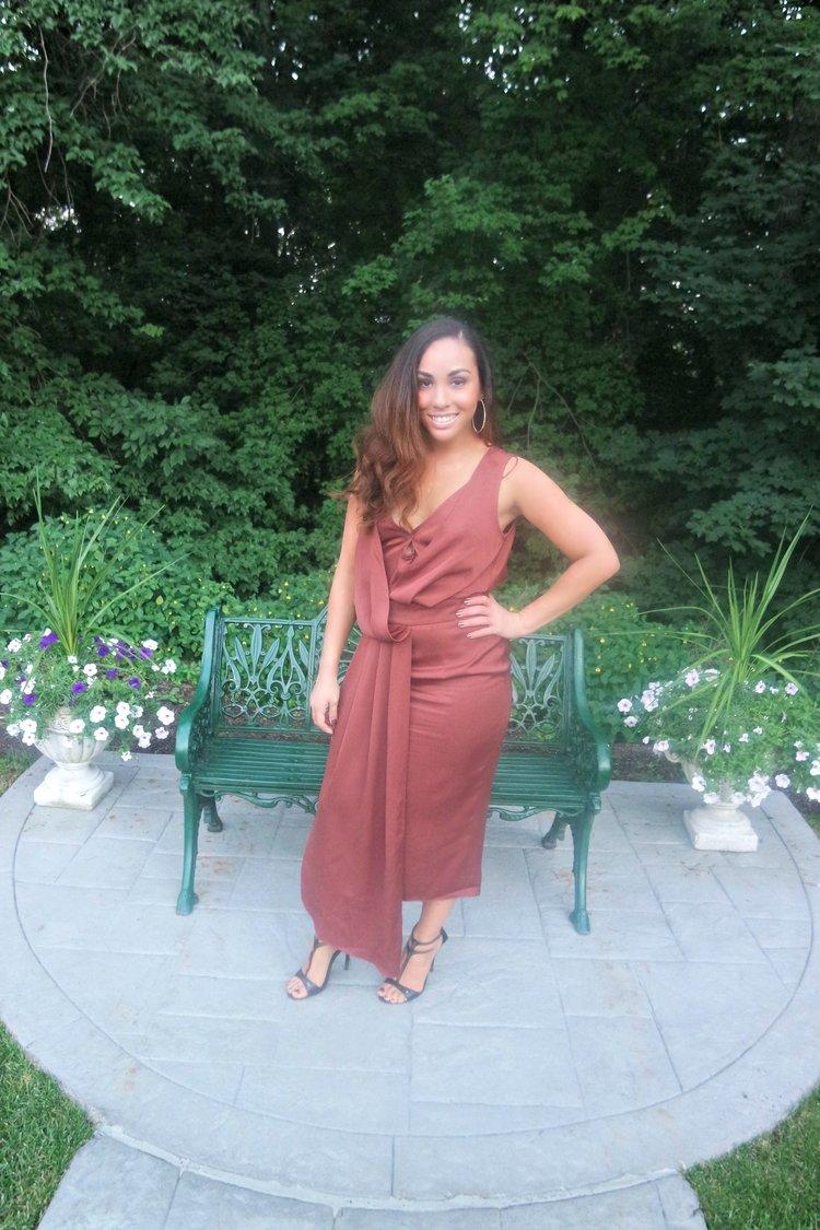 Drape Front Midi Dress
