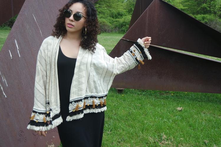 Kimono + Black Maxi Dress