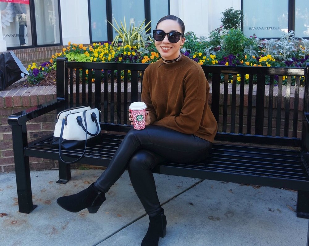 Karen Walker Sunglasses | F21 Choker (sold out; similar here) | HM Mock Turtleneck (got it on sale for $10! Similar here | Ann Taylor Faux Leather Leggings (old; similar here) | Sole Society Booties on sale! | Ralph Lauren Bag