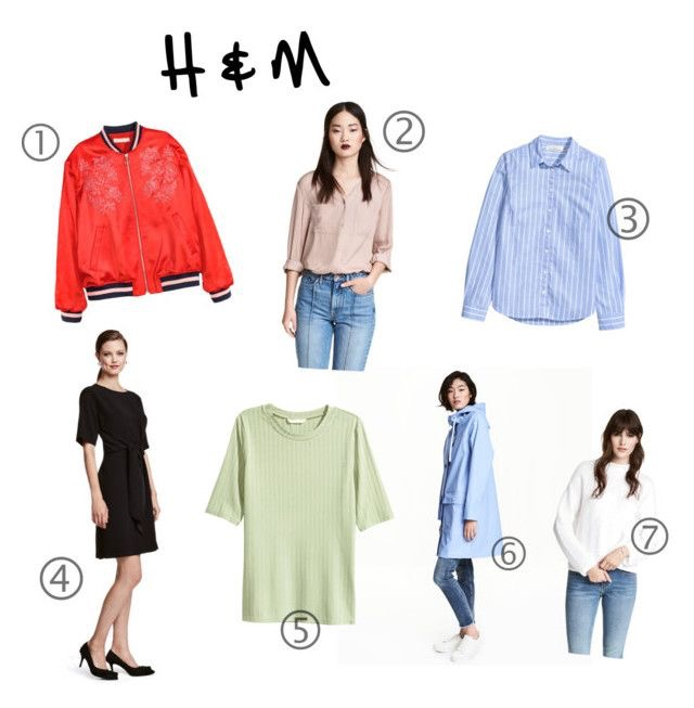 1. Embroidered Bomber  | 2. V-neck Blouse | 3. Blue Stripe Cotton Shirt | 4. Dress With Tie | 5. Ribbed Jersey Top | 6. Rain Coat with Hood | 7. Textured Knit Sweater