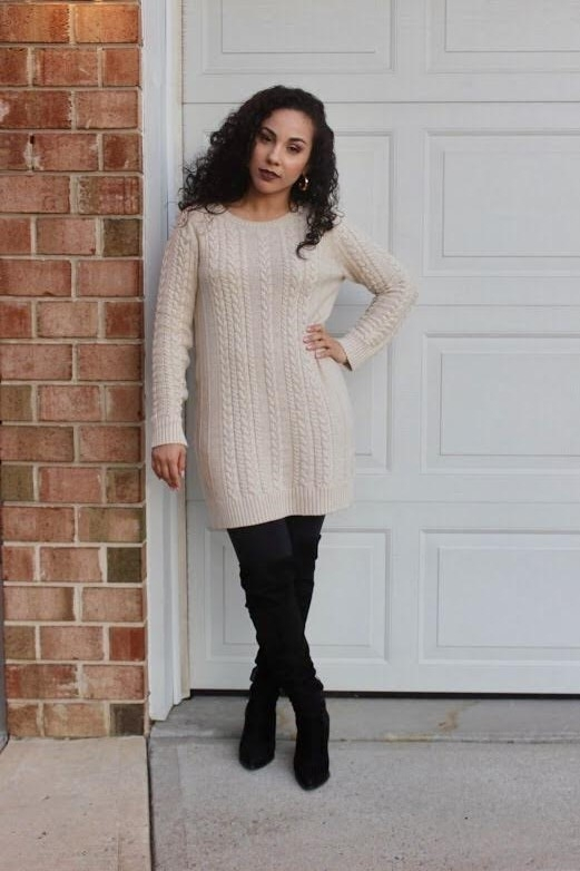 A&F SWEATER DRESS | A&F LEGGINGS | MARK FISHER OTK BOOTS (SOLD OUT; SIMILAR HERE) | ZARA HOOP EARRINGS (SOLD OUT QUICK!; SIMILAR HERE)