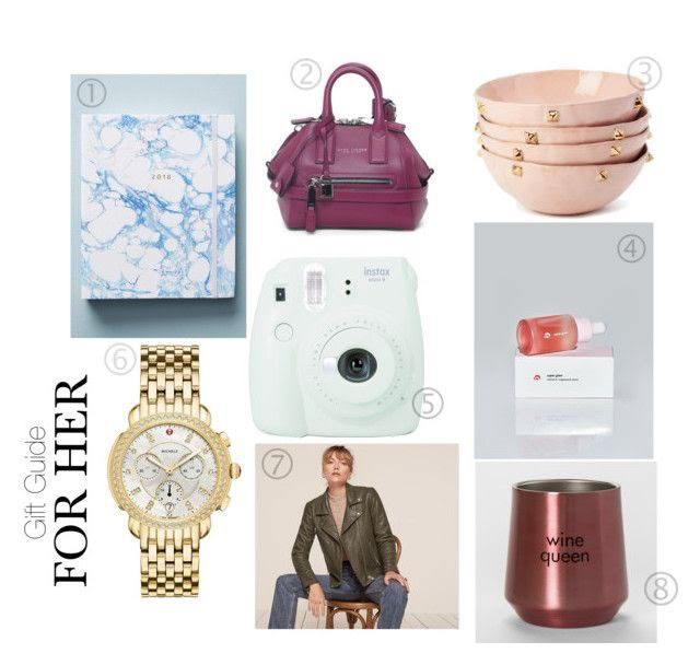 1.  ANTHROPOLOGIE HADRON EPOCH MARBLE 2017-2018 PLANNER : Every year I get myself one of these.  It's such a help when keeping your dates and even your thoughts together in one place - especially if that place is this pretty.  :)  2.  MARC JACOBS MINI INCOGNITO LEATHER HANDBAG:  Every girl needs an on-trend handbag in a pretty color.   3.  LUX EROS BLUSH AND GOLD PYRAMID : Like I said before, I have been  very  into home decor lately.  I love these blush bowls! (hint, hint: buy  me  these, please.)   4.  GLOSSIER VITAMIN C FACE SERUM : Give someone the gift of bright, healthy skin.  I heard this stuff is like a fresh battery for your face.   5.  FUJIFILM INSTAX MINI 9 CAMERA : This is so cute and they come in various colors!   6.  MICHELE SIDNEY WATCH : This has been at the top of my wishlist for what seems like forever.  You can't go wrong with a timeless wristwatch.    7.  THE REFORMATION VEDA LEATHER JACKET : I love this gray leather jacket.  It leans a little towards olive which is pretty cool.    8.  STEMLESS STAINLESS STEEL WINE TUMBLER :  You can get her another wine glass she already has or you can surprise her with this super cute wine tumbler.