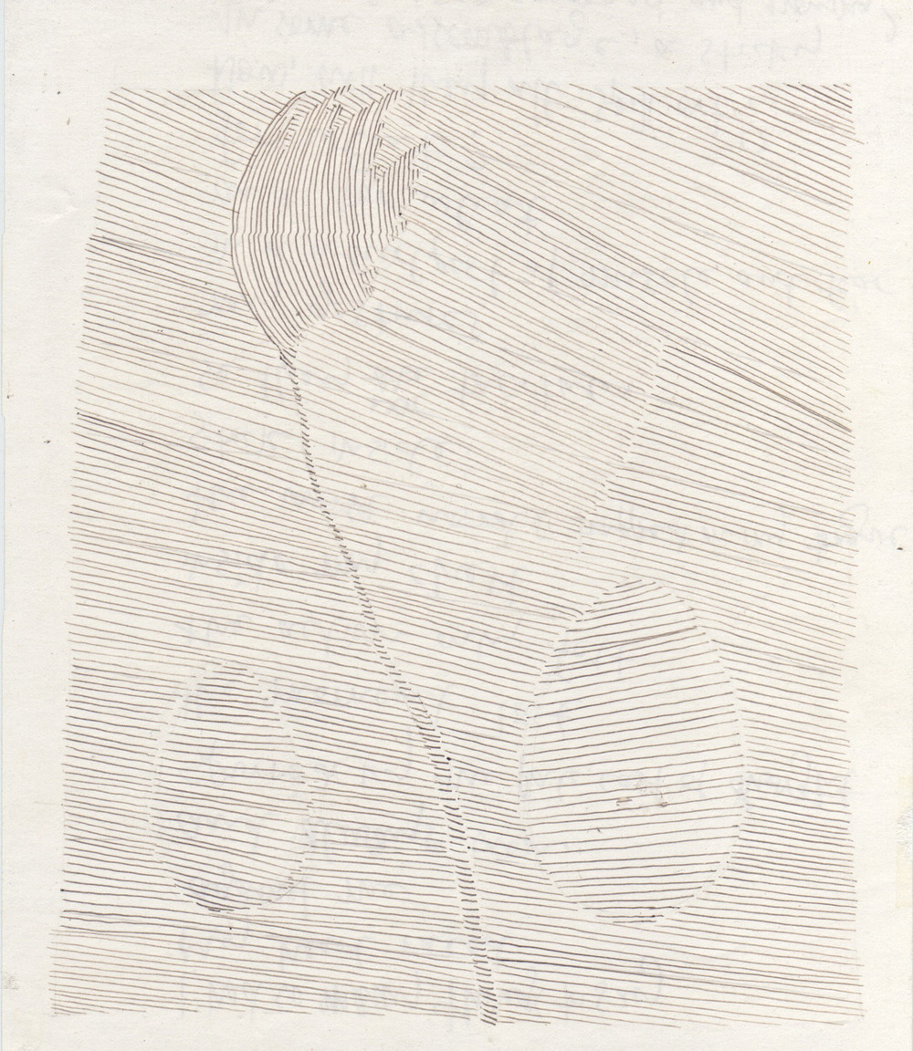 "FLOWERING    pen on paper, 6 x 8"", 2006"