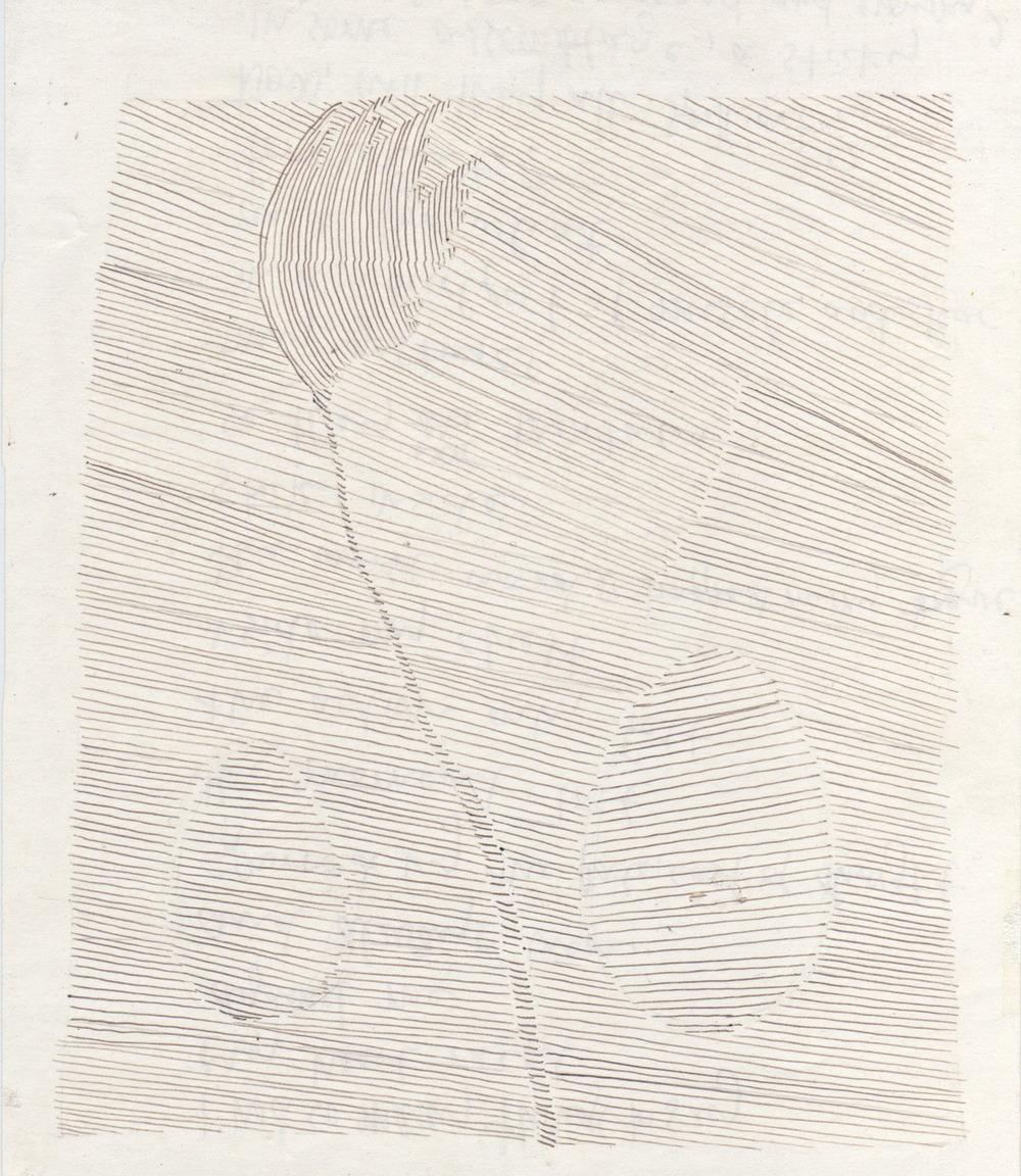 "FLOWERING    pen on paper, 6 x 8"", 2006"