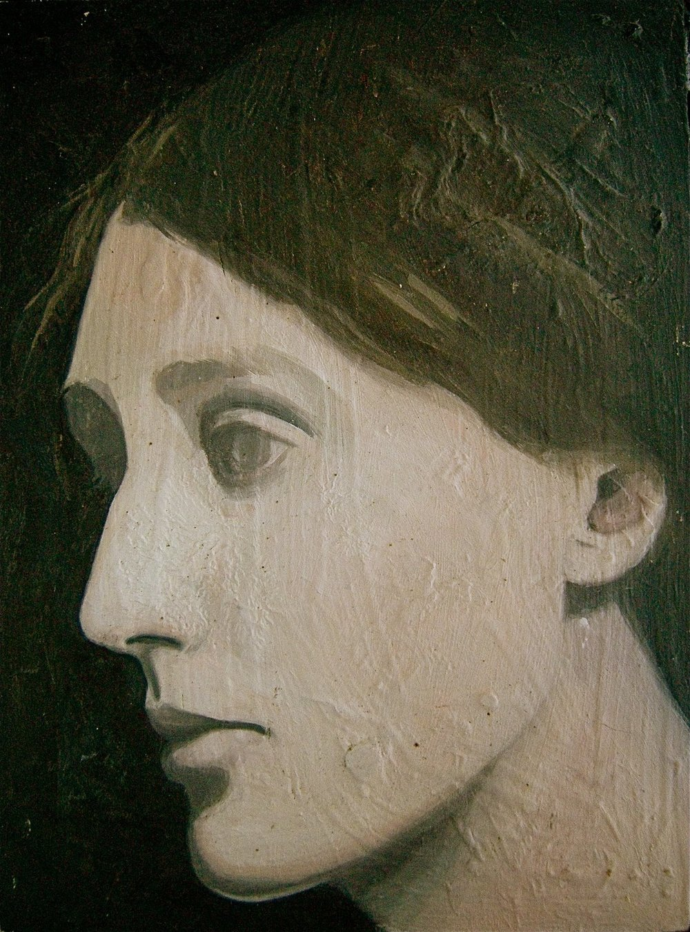 "PALIMPSESTS (VIRGINIA WOOLF I)    oil on masonite, 6 x 10"", 2004"