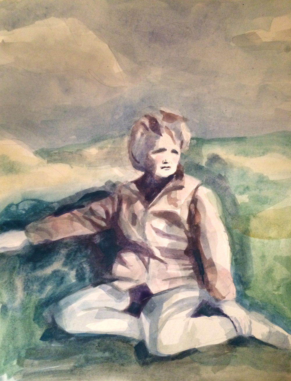 "DAPHNE DU MAURIER    watercolor on paper, 8 1/2 x 11"", 2015"