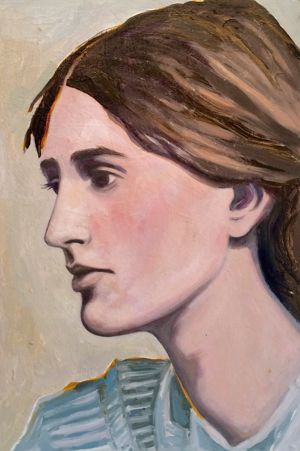 "(sold)    VIRGINIA WOOLF #2    oil on masonite, 8 x 14"", 2015"