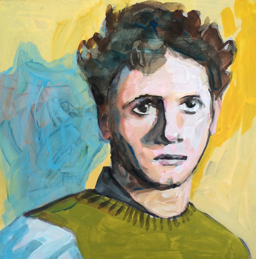 "(sold)    DYLAN THOMAS   acrylic and watercolor on masonite, 8 x 8"", 2015"