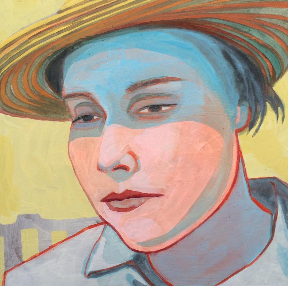 """ELIZABETH BISHOP   acrylic and gouache on masonite, 8 x 8"""", 2015"""