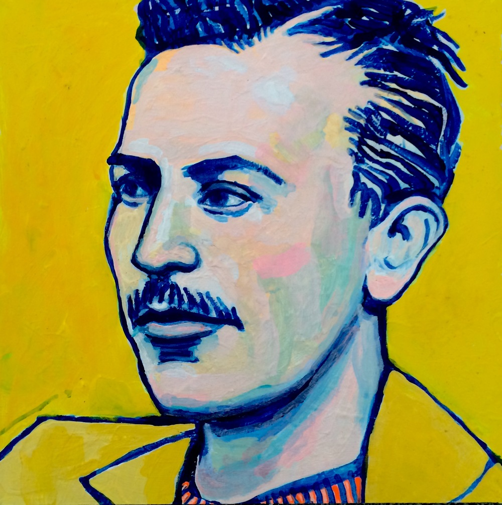 "(sold)    JOHN STEINBECK   acrylic and guache on masonite, 8"" x 8"", 2015"