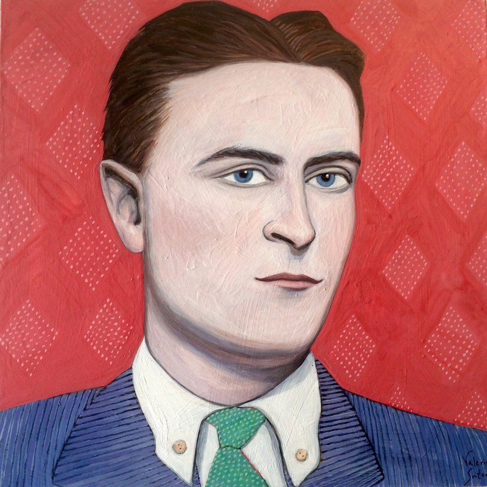 "(sold)    F. SCOTT FITZGERALD    acrylic, watercolor, gouache on board, 8 x 8"", 2016"