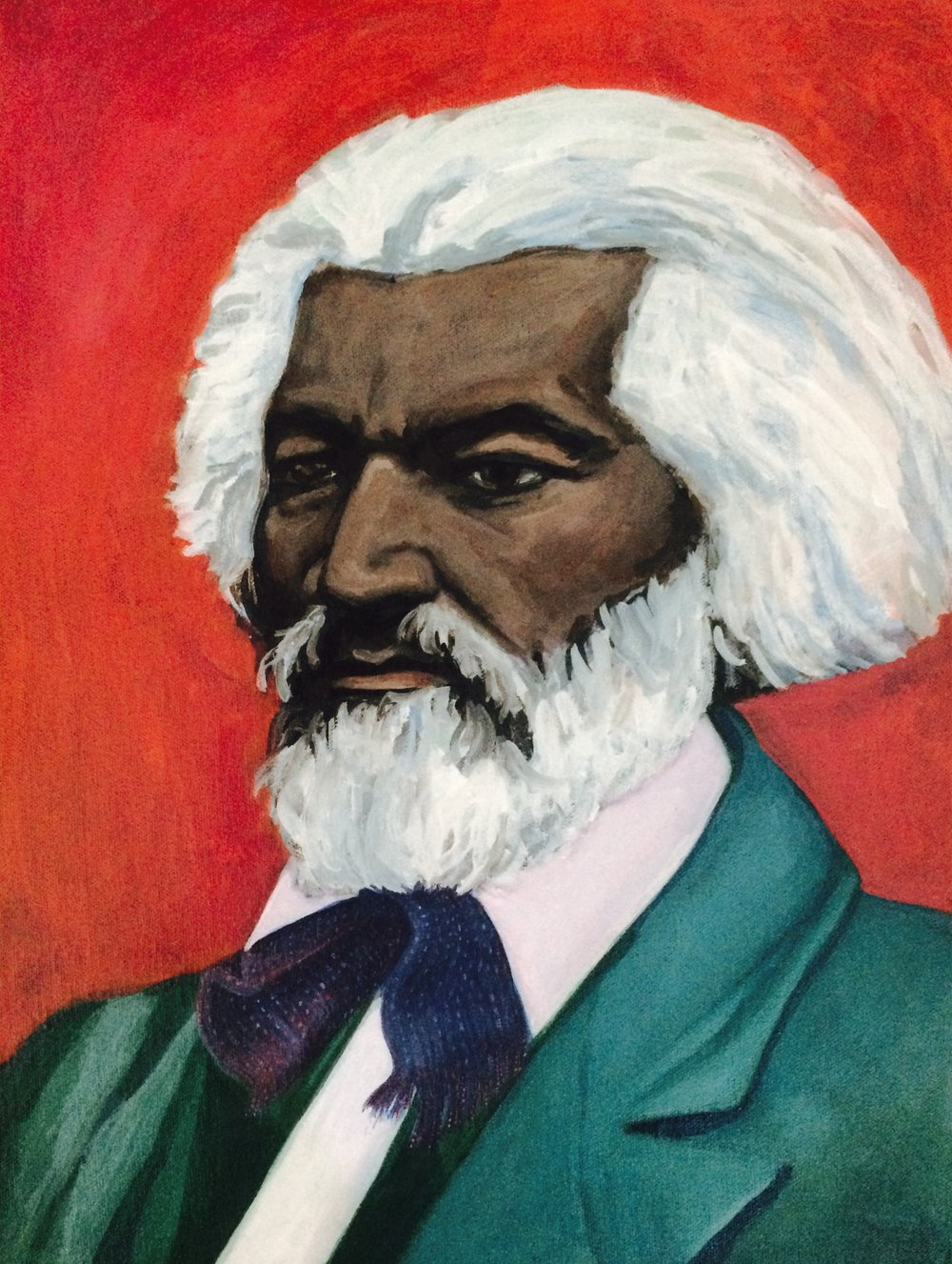 "FREDERICK DOUGLASS    acrylic, gouache, watercolor on canvas panel, 12 x 16"", 2016"