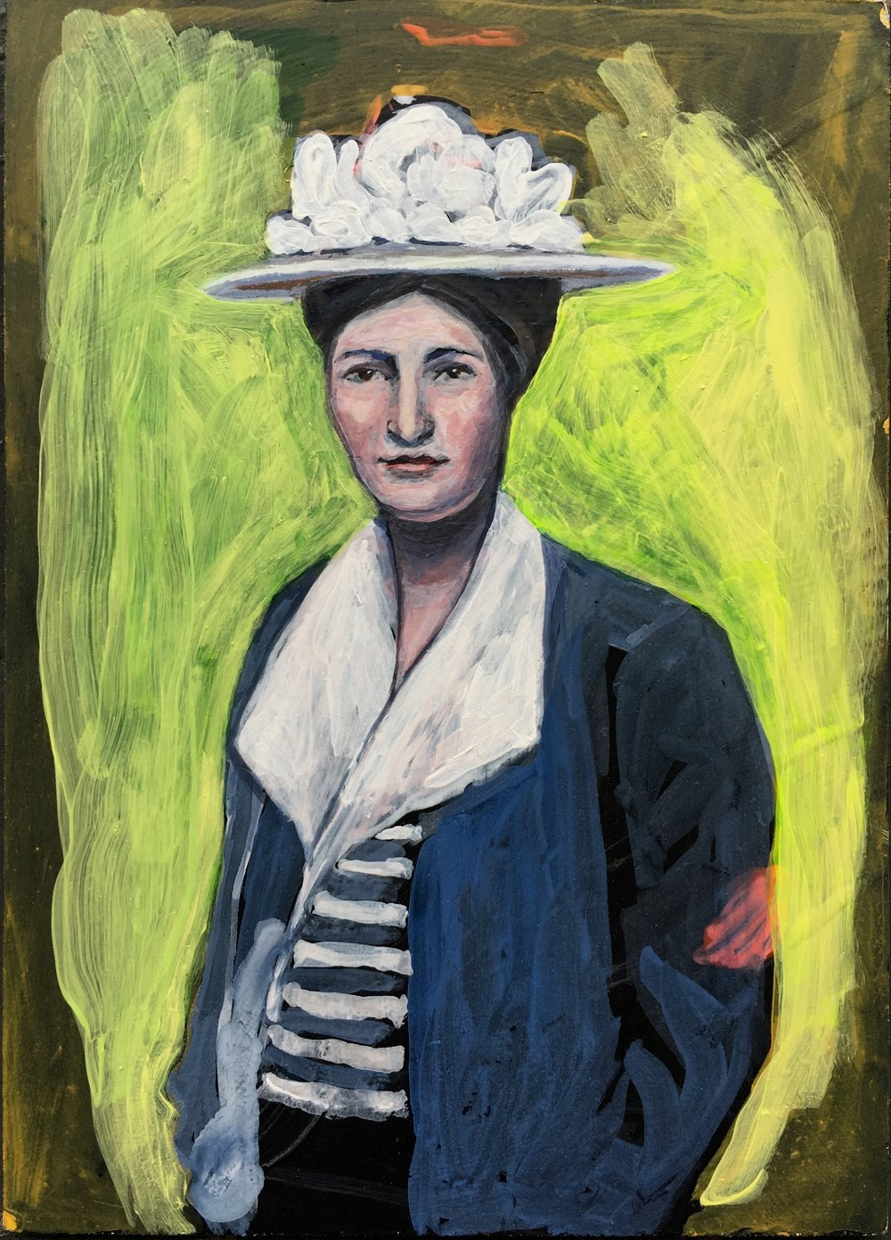 WILLIE - or - WILLA CATHER    acrylic and gouache on board, 5 x 8 in., 2016