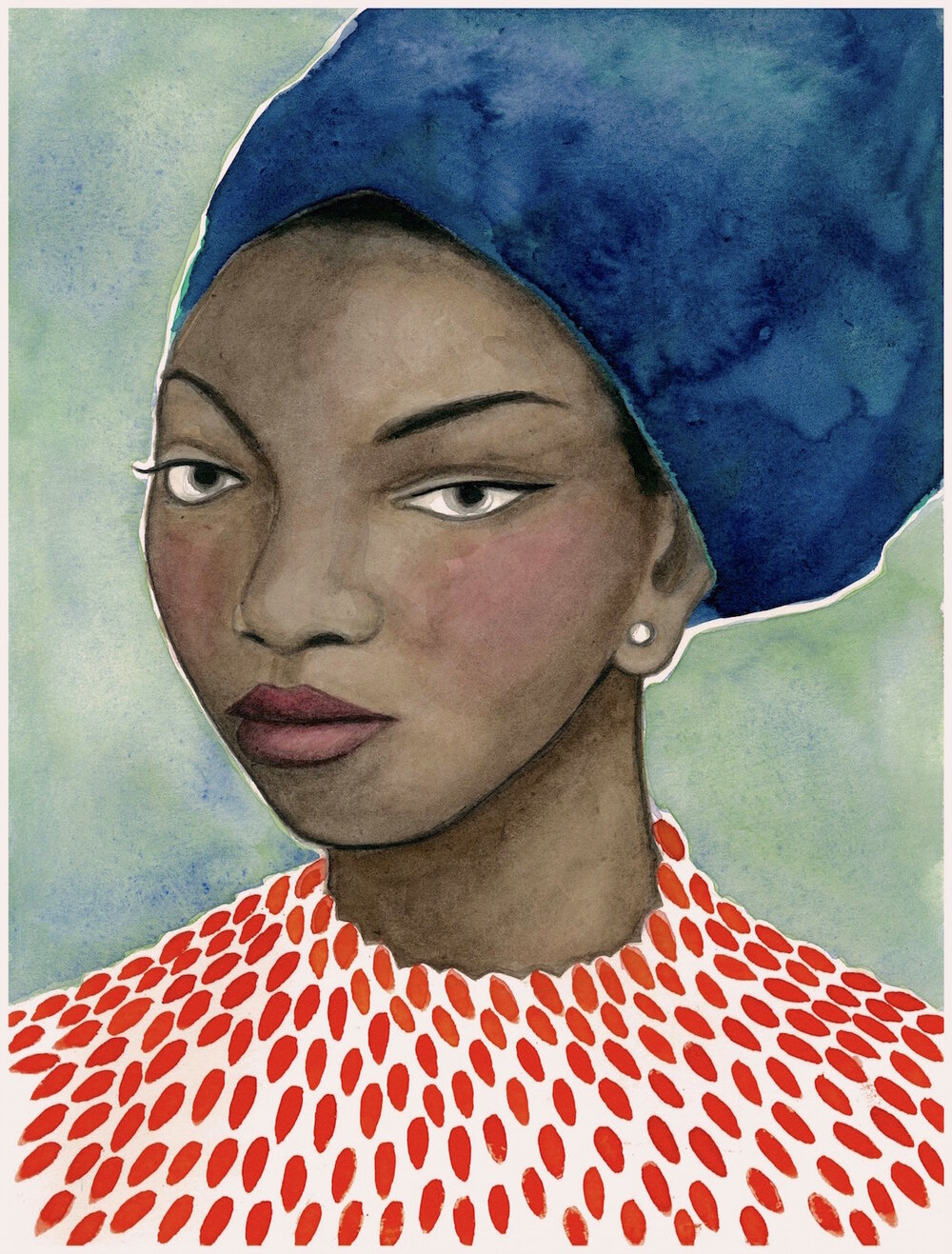 NINA SIMONE    watercolor and gouache on paper, 9 x 12 in., 2017