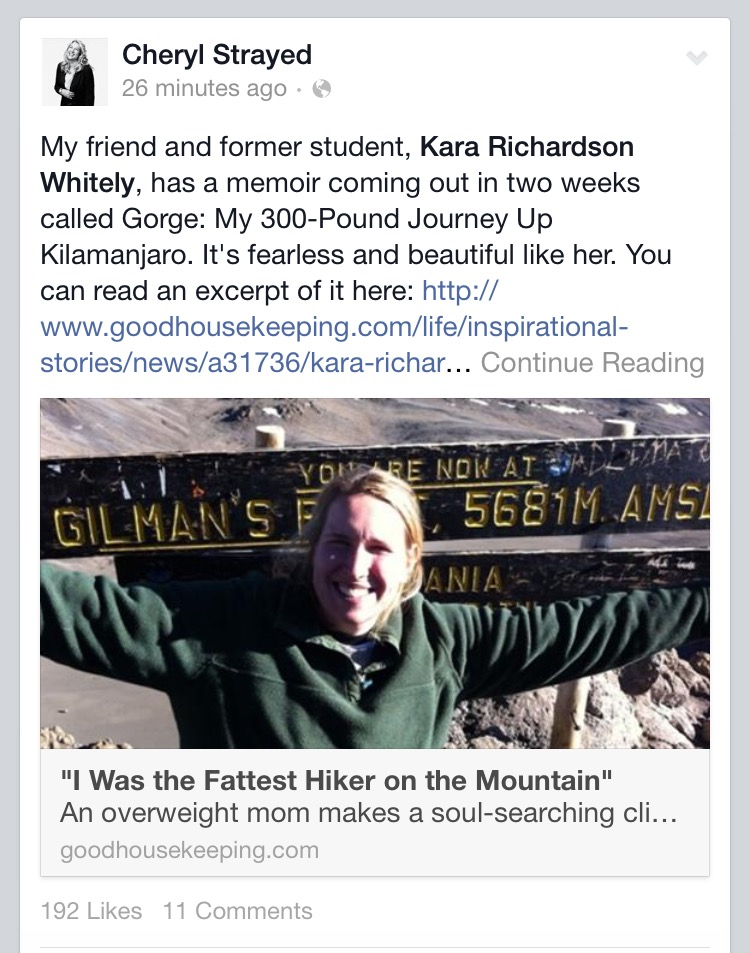 A beautiful shout out from my friend and teacher Cheryl Strayed.