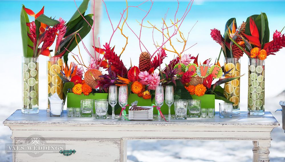 Tropical Fruit Platter For A Beach Wedding: Fuchsia And Orange Tropical Beach Wedding