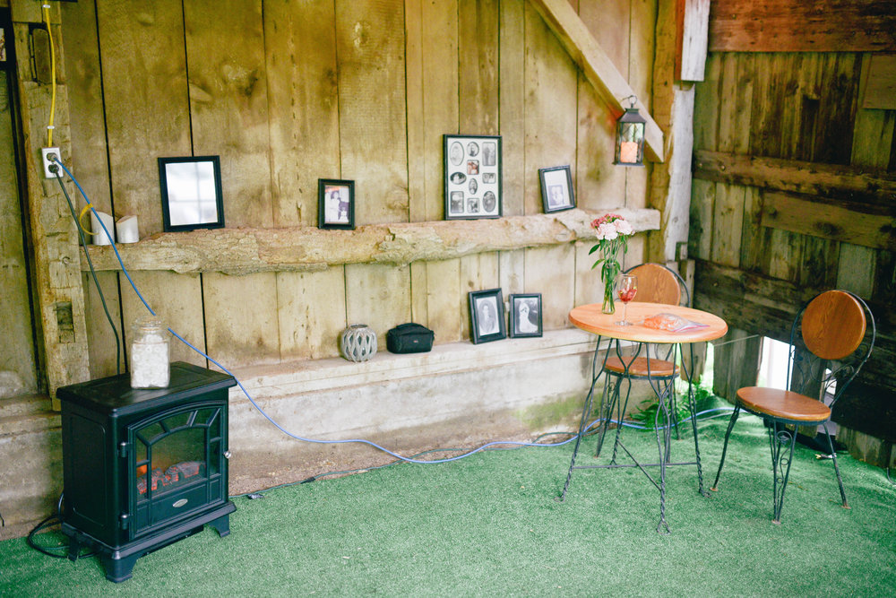 Inside the barn! So many sweet touches.