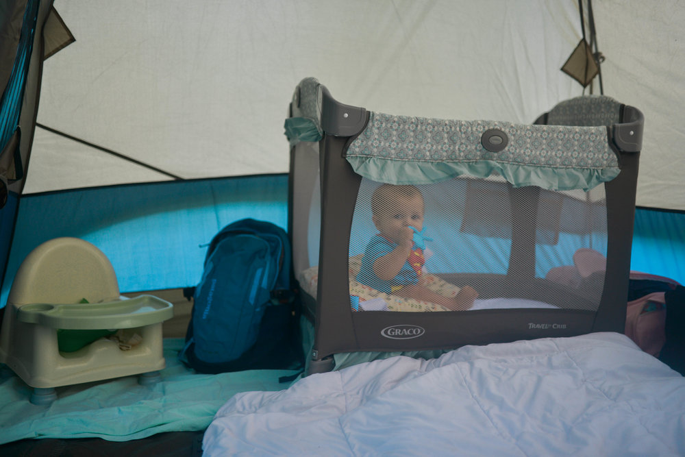 Baby side of the tent- including baby!