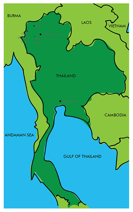 I made a rough map of where we were. We were in Northern Thailand, in the mountains, very close to Burma and no where near Bangkok or Southern Thailand--where most people go for beaches and islands.