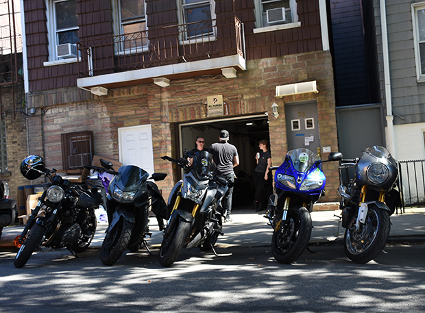Dirty Billy Brooklyn NYC Moto Community Garage Shop Sunday Funday Crew Front of Shop.jpg
