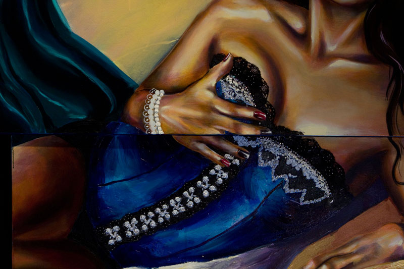 Woman Reclining in a Blue Corset (detail)