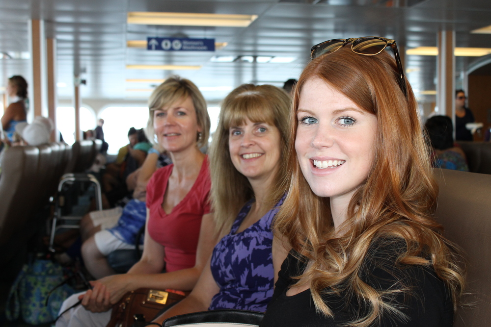 Michaela and our moms onthe ferry to Nanaimo!