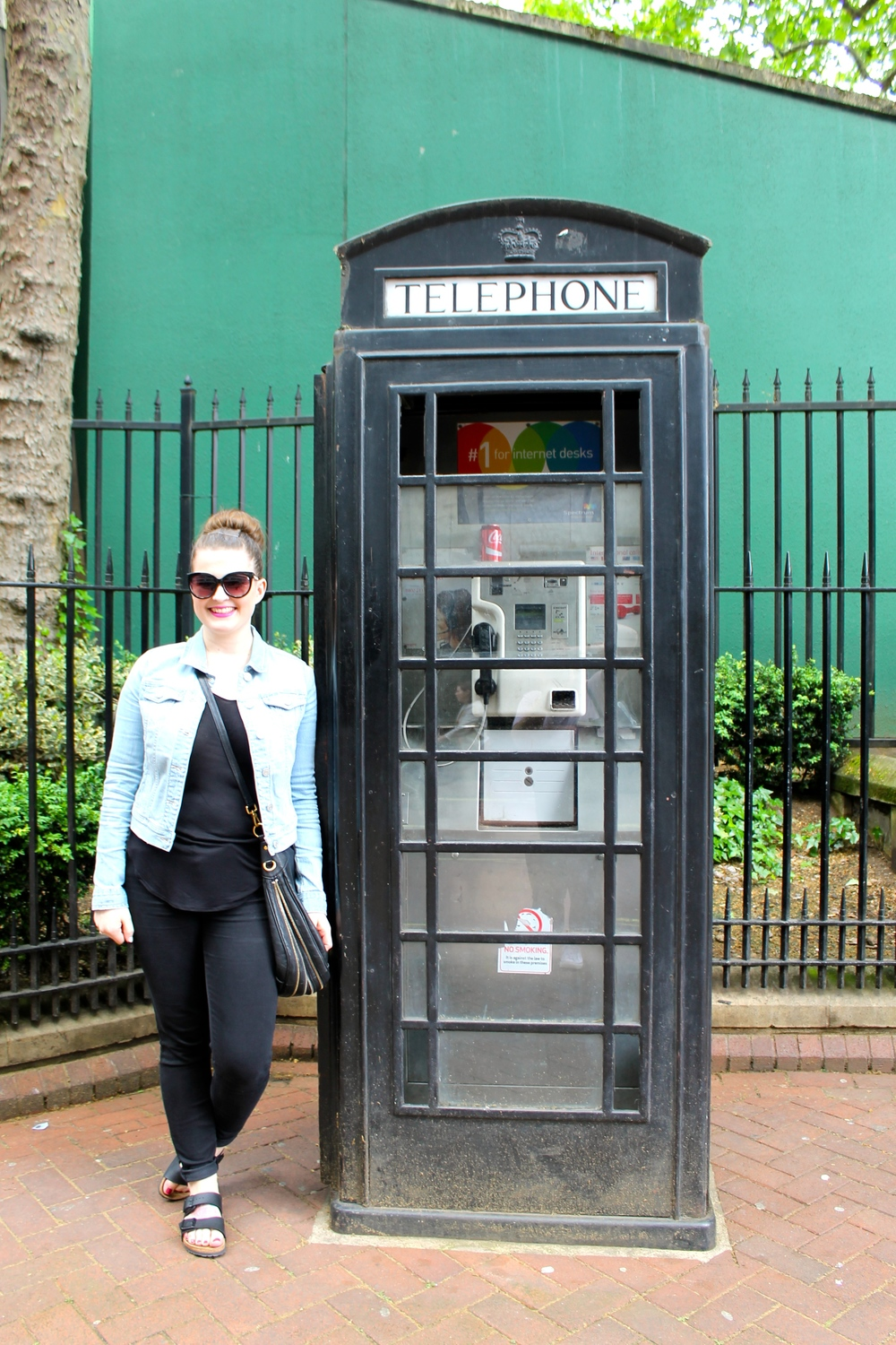 I had to get a photo with a telephone booth! I secretly liked that it was black. This was around Victoria Embankment Gardens.