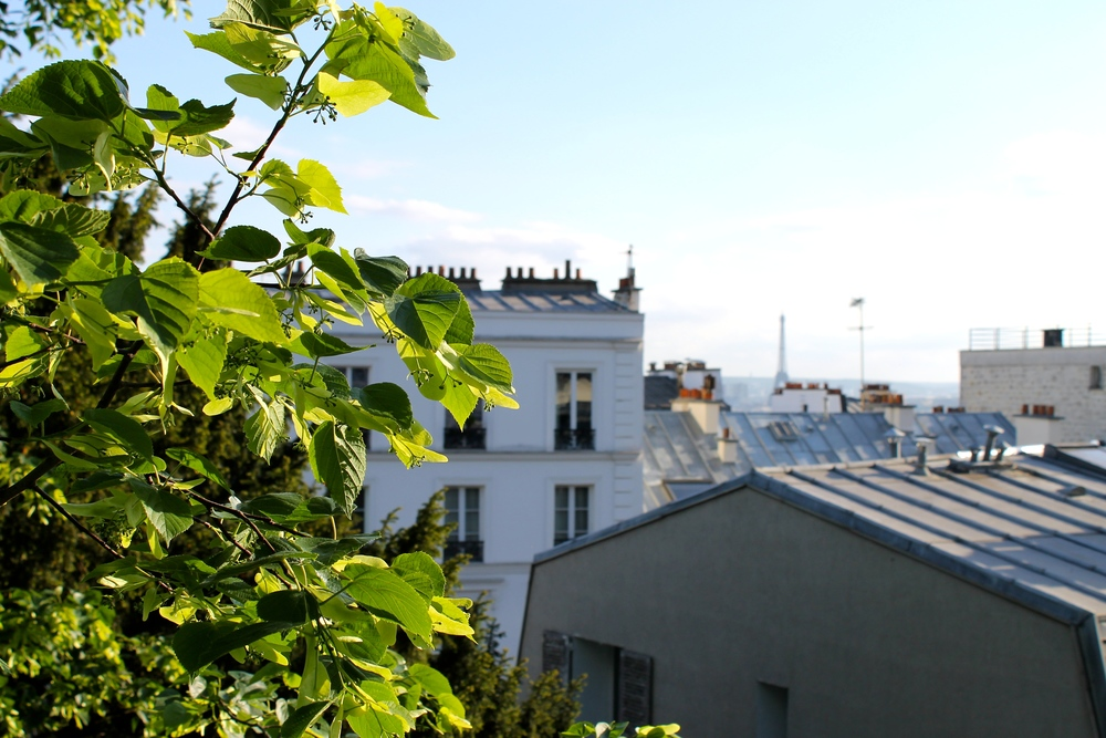 Our first glimpse of the Eiffel Tower, also seen from the Sacre Coeur view point.