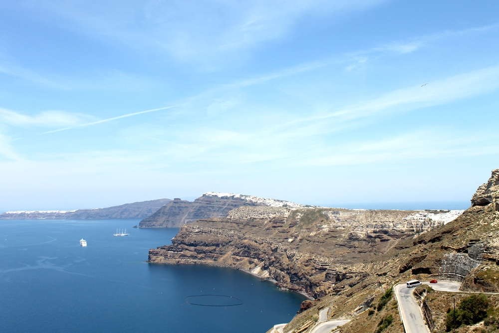 Gorgeous view of the caldera. Oia can be seen in the far left corner of this photo. Fira is in the centre of the island. We took another ATV out this day.
