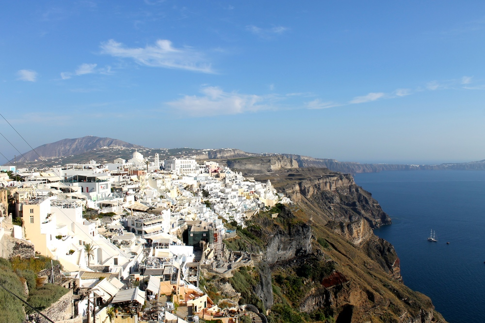 View of Fira from the top of the island.